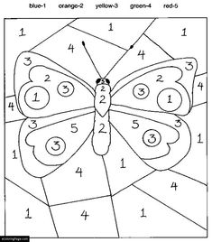 Color By Numbers Butterfly Coloring Page for Kids Printable | eColoringPage.com- Printable Coloring Pages