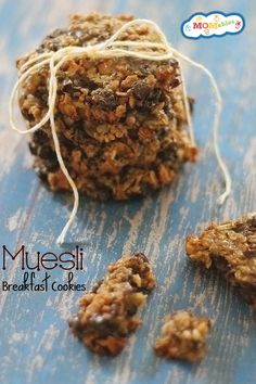 sheet with parchment paper. Whisk bananas, nut butter, and honey in a large mixing bowl until smooth. Stir in the muesli, chocolate chips, v. Breakfast Cookie Recipe, Breakfast Recipes, Healthy Meals For Kids, Kids Meals, Healthy Snacks, Healthy Eating, Real Food Recipes, Cookie Recipes, Vegan Bar