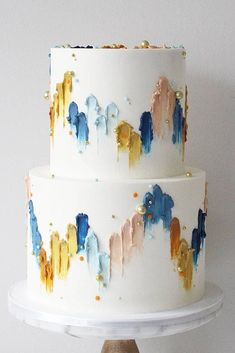 36 Fall Wedding Cakes That WOW ❤ fall wedding cakes white decorated with pearls and hand painted yellow blue abstract soulcakeshop #weddingforward #wedding #bride #weddingcakes #fallweddingcakes
