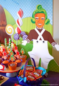 Wonka Party - candy buffet table Wonka Chocolate Factory, Charlie Chocolate Factory, 11th Birthday, Lego Birthday Party, Golden Birthday, Boy Birthday Parties, Themed Parties, Party Themes, Birthday Ideas