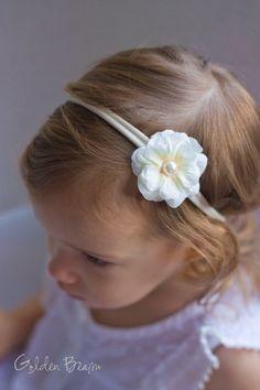 Flower Girl Headband  Ali Ivory Flower Handmade by GoldenBeam, £5.50