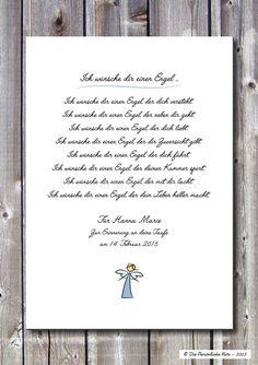 Poetischer Segenswunsch: Ich wünsche dir einen Engel ... - ein Designerstück von…