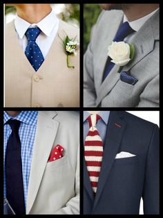 There is nothing like the classic sophistication of a man wearing navy, perfect for Fourth of July weddings!