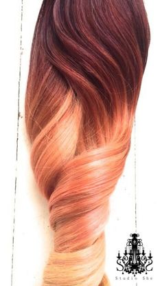 "Ombre Hair Extensions, Georgian Sunset Ombre Hair, Violet and Red with a slow fade to Peach and Blonde,(7) Pieces, 18"" by NinasCreativeCouture on Etsy https://www.etsy.com/listing/207434043/ombre-hair-extensions-georgian-sunset"