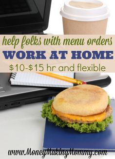 Food delivery in booming in this day and age and lots of companies need help assisting their customers with placing orders. You can help and work at home! Get more info at MoneyMakingMommy.com.