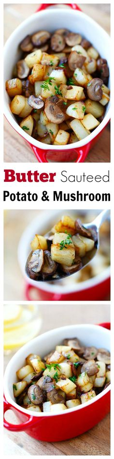 Butter Sauteed Potato and Mushroom – 15-min side dish of potato and mushroom sauteed with butter. Super easy, quick and yummy | rasamalaysia.com