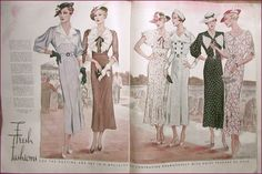 McCall's magazine, August 1934 featuring McCall 7905 and 7906 on the left page, McCall 7927, 7909, 7908 and 7902 on the right page