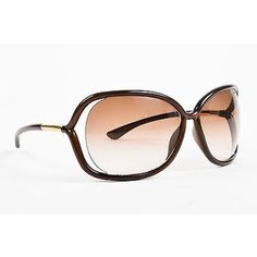 """Tom Ford Brown Gold Tone Ombre Lens Oversized Butterfly """"jennifer""""... ❤ liked on Polyvore featuring accessories, eyewear, sunglasses, butterfly glasses, brown glasses, brown lens sunglasses, over sized sunglasses and tom ford"""