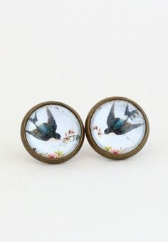 Post Earrings Bird Earrings Brass Post. pair these with a pleated skirt and statement bag= heaven