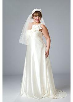Exquisite Stretch Charmeuse A-line One Shoulder Neckline Plus Size Wedding Dress With Handmade Flower