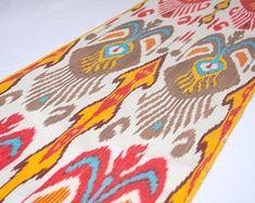 Uzbek Silk ikat table runner ikat fabric by the yard ikat fabric red ikat turquoise brown ikat Silkway shop in USA Best ikat fabrics on sale Printed Silk Fabric, Ikat Fabric, Ikat Pillows, Designer Throw Pillows, Ikat Pattern, How To Make Pillows, Pillow Design, Handicraft, Hand Weaving