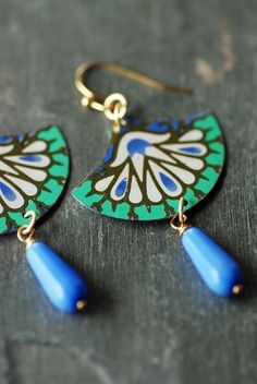 Vintage Tin Earrings Periwinkle and Mint Boho by EntwyneDesigns