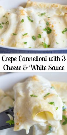 Homemade Crepe Cannelloni with Cheese & White Sauce, a delicious way to serve a Baked Pasta. Soft crepes filled with 3 types of cheese and topped with a homemade white sauce. Then Baked to perfection! use g/ f flour Homemade White Sauce, White Sauce Recipes, Dinner Crepes, Vegetarian Recipes, Cooking Recipes, Pancake Recipes, Waffle Recipes, Breakfast Recipes, Cannelloni Recipes