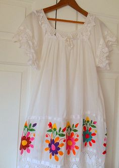 Vintage white Mexican embroidered summer Sun Dress by houuseofwren