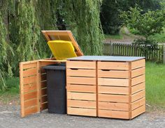 Mülltonnenbox Holz - Holzweise Coal Bunker, Garbage Containers, Garage Makeover, Trash Bins, Outdoor Furniture Sets, Outdoor Decor, Storage, Diy, Home Decor