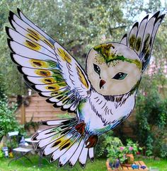 WICOART STICKER WINDOW COLOR CLING FAUX STAINED GLASS CHOUETTE OWL CIVETTA