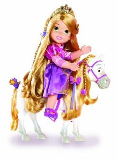 """Disney Princess Rapunzel and Maximus by Disney Princess. $49.97. Lots of hair accessories, plus a saddle and reigns for Maximus. Get ready for some serious hair brushing fun. Beautiful 15"""" Rapunzel doll has movable arms and legs and can sit up in Maximus' saddle. Brush her long hair and his long mane and tail. From the Manufacturer                What could be better than brushing Rapunzel's long, luxurious hair? Brushing Maximus' long mane and tail, too. All of your chil..."""