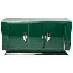 Image of Hunter Green Art Deco Sideboard Modern Materials, Art Decor, Art Deco Sideboard, Art Deco, Modern Sideboard, Contemporary Art Deco, Furniture Styles, Storage, Green Art Deco