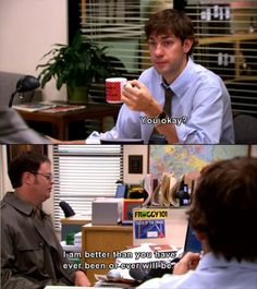 I love Jim. The Office - One of the greatest TV shows ever made. Dwight Schrute - One of the greatest TV characters EVER. Funny Meme Pictures, Funny Memes, Hilarious, Jokes, Tv Quotes, Movie Quotes, Girl Quotes, Just For Laughs, Just For You