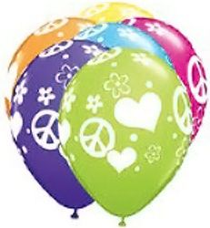 Multi Colour 28cm Peace Signs & Hearts Hippie Tropical Assortment for a 1960s theme party
