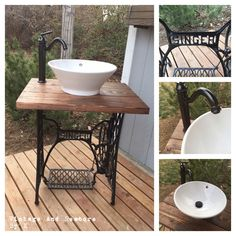 This unique bathroom vanity is sure to be an excellent conversation piece! A must have for up-cycling, vintage, and rustic lovers.  Up-cycled vintage Singer sewing machine base made into rustic bathroom vanity. Includes the vanity base, vessel sink, faucet, drain, and hot & cold water lines. Shop at: https://www.etsy.com/listing/271216950/vintage-upcycled-singer-sewing-machine?ref=shop_home_active_1