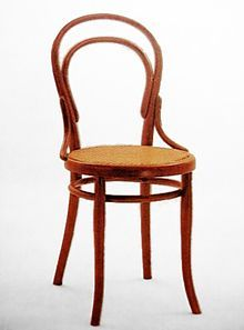 "Chair No. 14 by Michael Thonet . This chair was created from bent beech wood the ""Konsumstuhl Nr. The chair could be be easily disassembled so it took up very little space in transportation. As a result, it became a hugely popular mass produced item."
