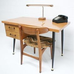 vintage 50s mid century modern mccobb eames era danish blonde desk tab - the vintedge co.