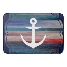 Blue Nautical Stripes Anchor Bathroom Mat