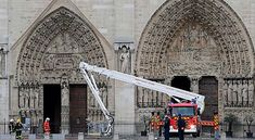 A massive fire broke out at the landmark Notre Dame Cathedral in central Paris, potentially involving renovation works being carried out at the site, on April French President, Louvre, Photos, Fair Grounds, Tower, France, Building, Travel, Firefighters