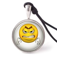 vietguild Angry Emotion Icon Necklace Pendants Pewter Silver