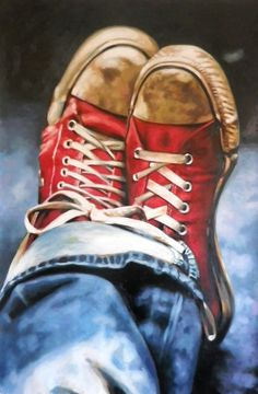 Kickin' back in my old Converse All Stars... in this fabulous painting! ~~ Houston Foodlovers Book Club
