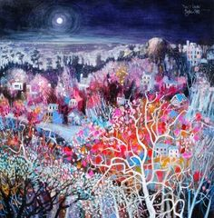 Moonlit Gardens by Blythe Scott, 30 x 30, Acrylic and Mixed Media on Board