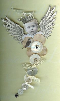 BUTTON FAIRY Bird Queen by Vintage Stamper's Flicker page.