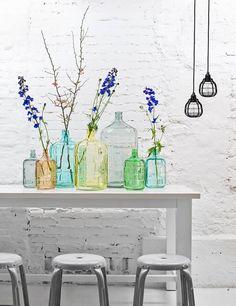 HK-living Glass vase (gray, blue, green, yellow, pink salmon). 11 liters, H41cm - 44,95 eur;  3 liter, h27.5cm - 16,95 eur; 23 liters, H56cm - 69,95 eur