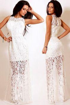 White Trendy Floral Lace Satin Patchwork Party Maxi Dress