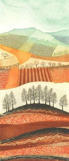 ARTFINDER: Winter Patchwork, Above & Below by Rebecca Vincent - This etching was created on a copper plate - tiny grooves and pits were made using a variety of resists and ferric chloride. The plate is inked up in 12 colo...
