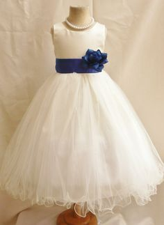 Flower Girl Dress IVORY/Blue Royal  FL Wedding Children Easter Bridesmaid Communion Blue Royal Blue Navy Blue Aqua Black Yellow Cannary