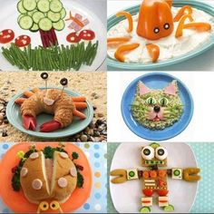 Healthy fun snacks for kids (and fun adults) Toddler Meals, Kids Meals, Cute Food, Good Food, Funny Food, Awesome Food, Childrens Meals, Boite A Lunch, Snacks Für Party