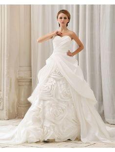Wedding Dresses Wedding Dresses,Ball Gown Sweetheart Sleeveless Organza Ivory Cheap Wedding Dresses With Ruffles #Wedding#Dresses