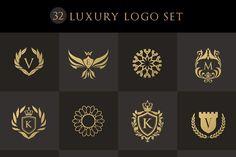 32 Luxury logo Set II (PSD) by Vectorwins Premium Shop on Creative Market CGstore Web Design Company, Blog Design, Company Logo, Law Icon, Photoshop Shapes, Magic Squares, Photography Logo Design, Photography Packaging, Hotel Logo