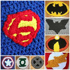 Superhero emblems and a cape pattern.