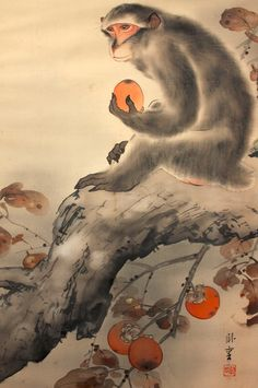 Meiji Period Monkey with Persimmon Silk Scroll Painting