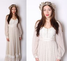 Gunne Sax / Long Floral 1970s Wedding Dress / Dress / Dresses / Alternative Wedding / Prairie / Corset / Boho / Bohemian / 1167