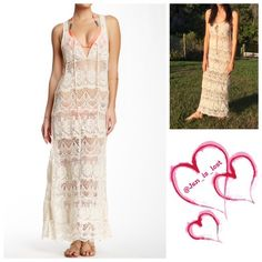 """SPRING CLEARANCE Megan LA Lace Maxi Dress Megan LA Maxi Dress Plunge neck with self tie closure - Sleeveless - Racerback - Lace construction - Approx. 59"""" length Fiber Content: 100% polyester New without tags worn for modeling purpose only.   No trades  ✅ Reasonable offers welcomed. ✅ Happy Poshing  Megan LA Dresses Maxi"""