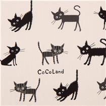 creme Katze Tier Stoff CoCoLand  Canvas Stoff aus Japan