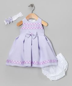 Take a look at this Lavender Polka Dot Bow Dress Set - Infant by Shanil on #zulily today!