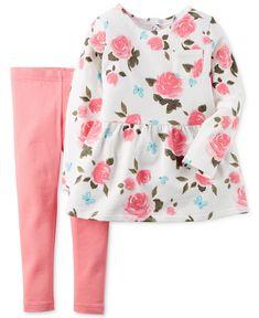 $11.99 Carter's Baby Girls' 2-Piece Floral-Print Top & Leggings Set - Kids - Macy's