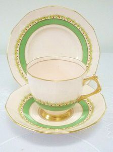 Tuscan Art Deco Vintage China Tea set tea cup trio Baby Pink Green