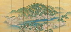 Arashiyama in Spring (right); Mt. Takao in Autumn (left) Artist: Yamamoto Baiitsu (Japanese, 1783–1856) Period: Edo period (1615–1868) Date: 1832 Culture: Japan Medium: Pair of six-panel folding screens; color with gold ground on paper