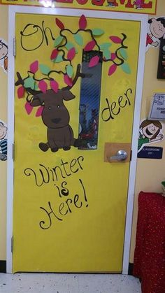 Fun way to decorate your classroom door this winter. Get the details and more fun winter decorating ideas here: http://www.mpmschoolsupplies.com/ideas/6891/oh-deer-winter-is-here-door-display/